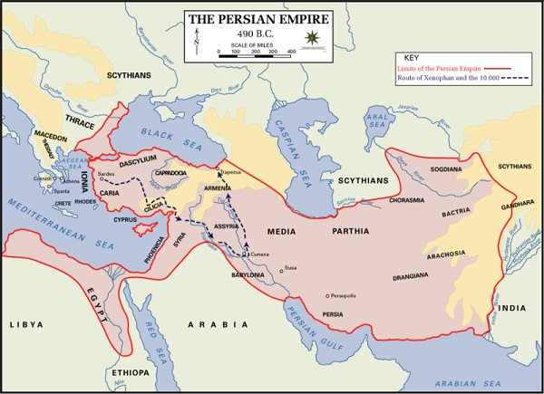 قلمرو ایران در سال ۴۹۰ پیش از میلاد