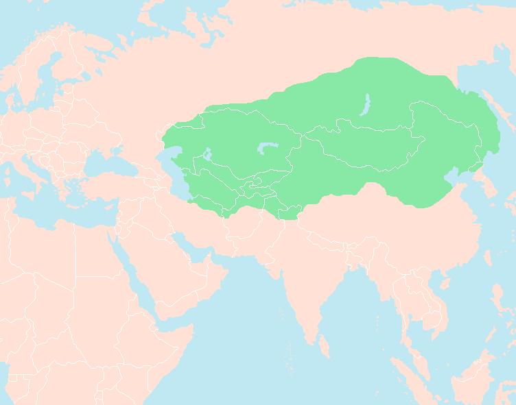 وسعت امپراتوری مغول در زمان مرگ چنگیز خان