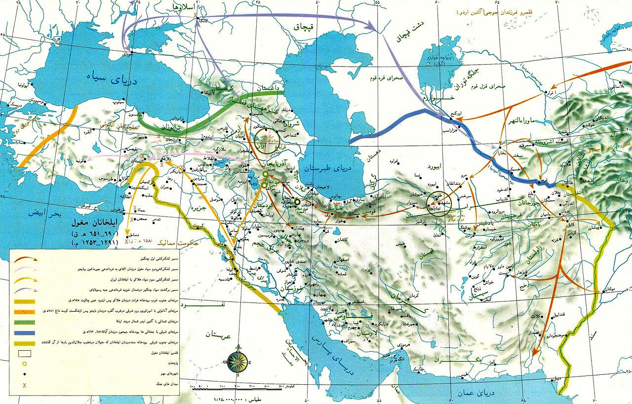 مسیر حملات مغول به ایران